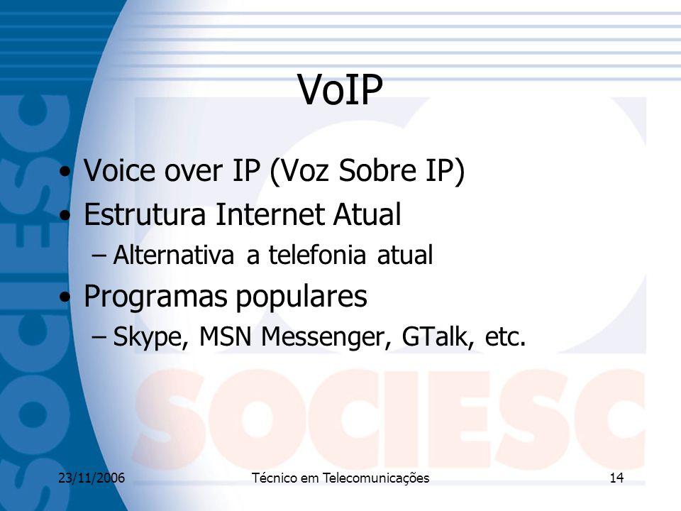 23/11/2006Técnico em Telecomunicações14 VoIP Voice over IP (Voz Sobre IP) Estrutura Internet Atual –Alternativa a telefonia atual Programas populares –Skype, MSN Messenger, GTalk, etc.