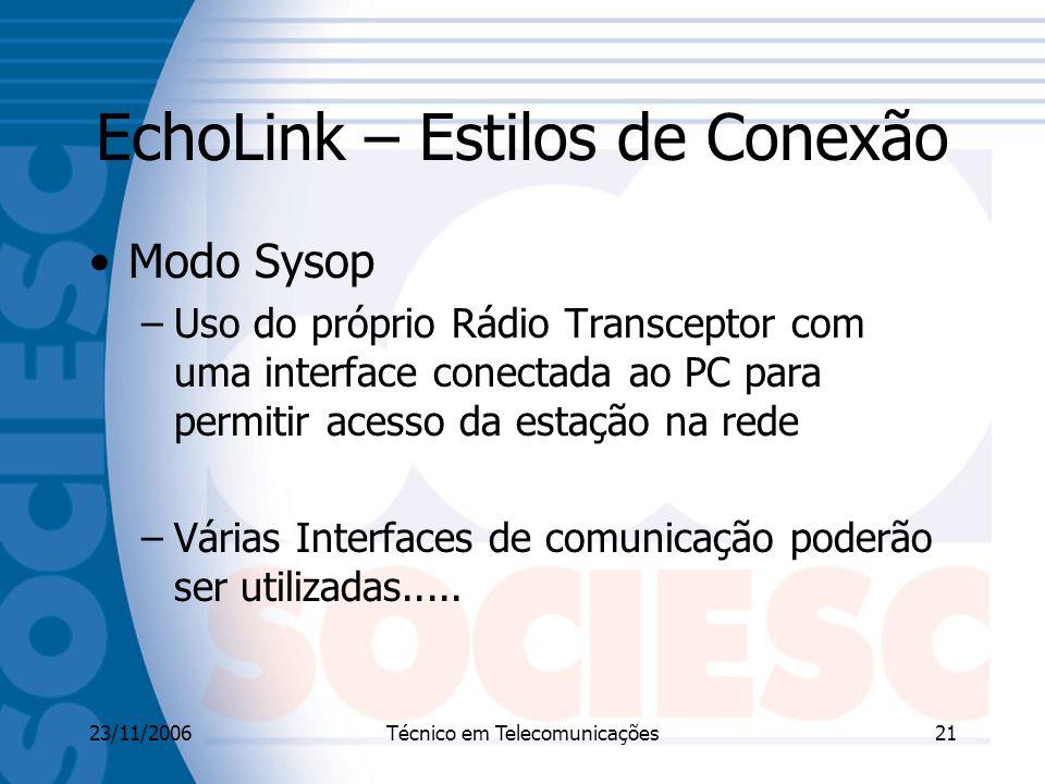 23/11/2006Técnico em Telecomunicações21 EchoLink – Estilos de Conexão Modo Sysop –Uso do próprio Rádio Transceptor com uma interface conectada ao PC para permitir acesso da estação na rede –Várias Interfaces de comunicação poderão ser utilizadas.....