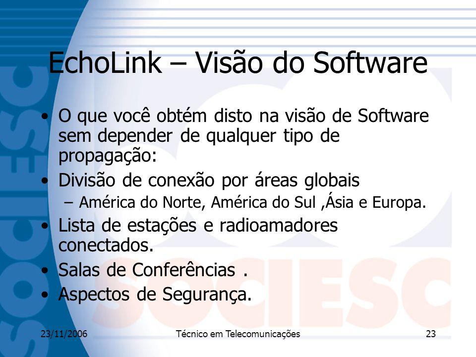 23/11/2006Técnico em Telecomunicações23 EchoLink – Visão do Software O que você obtém disto na visão de Software sem depender de qualquer tipo de propagação: Divisão de conexão por áreas globais –América do Norte, América do Sul,Ásia e Europa.