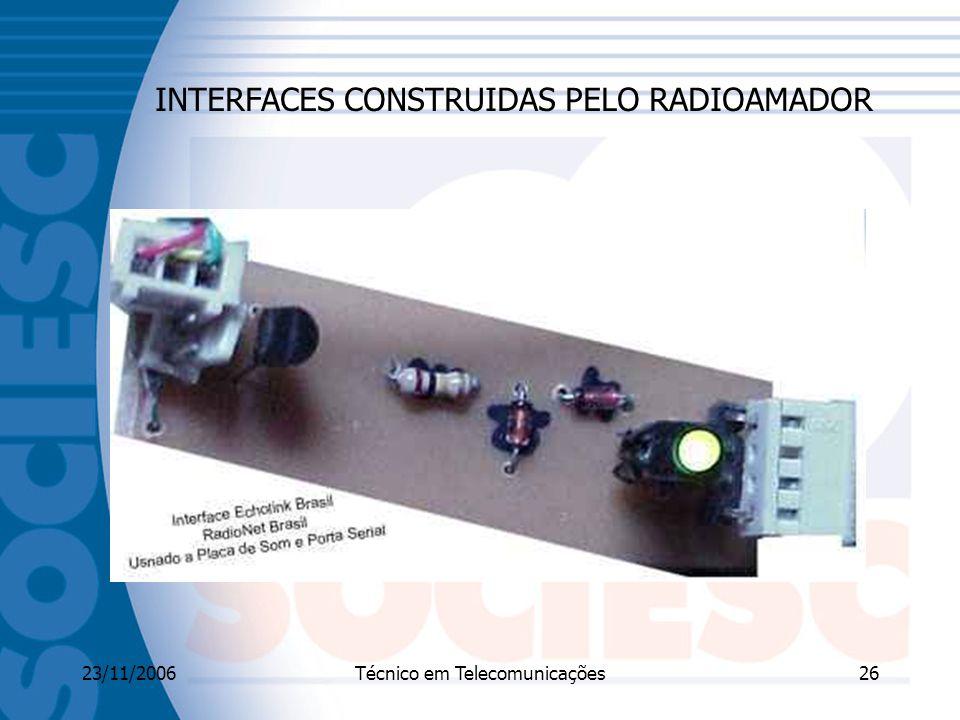 23/11/2006Técnico em Telecomunicações26 INTERFACES CONSTRUIDAS PELO RADIOAMADOR