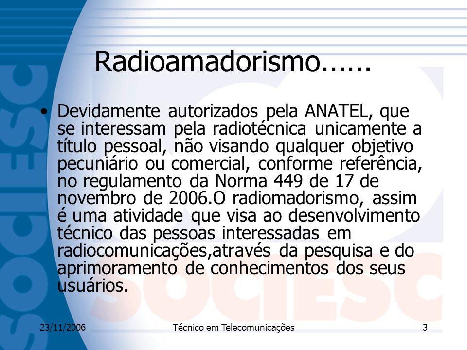 23/11/2006Técnico em Telecomunicações3 Radioamadorismo......