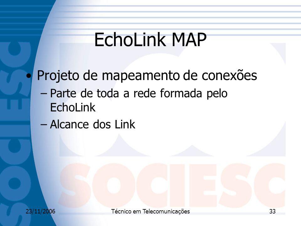 23/11/2006Técnico em Telecomunicações33 EchoLink MAP Projeto de mapeamento de conexões –Parte de toda a rede formada pelo EchoLink –Alcance dos Link