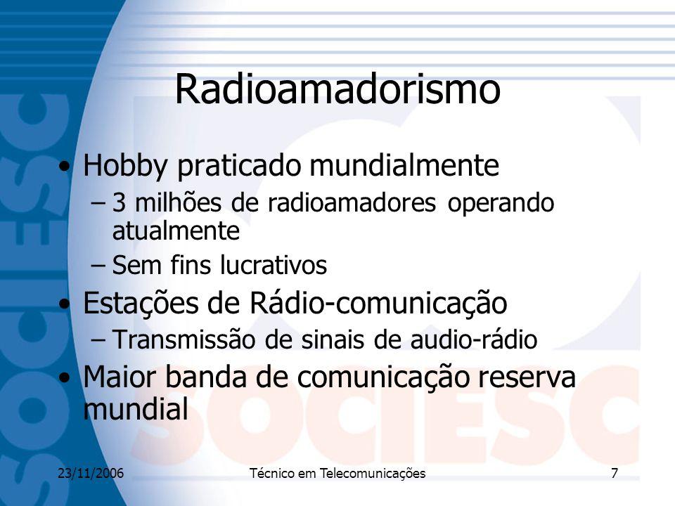 23/11/2006Técnico em Telecomunicações7 Radioamadorismo Hobby praticado mundialmente –3 milhões de radioamadores operando atualmente –Sem fins lucrativos Estações de Rádio-comunicação –Transmissão de sinais de audio-rádio Maior banda de comunicação reserva mundial