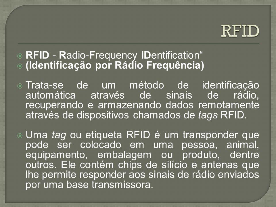 RFID - Radio-Frequency IDentification (Identificação por Rádio Frequência) Trata-se de um método de identificação automática através de sinais de rádi
