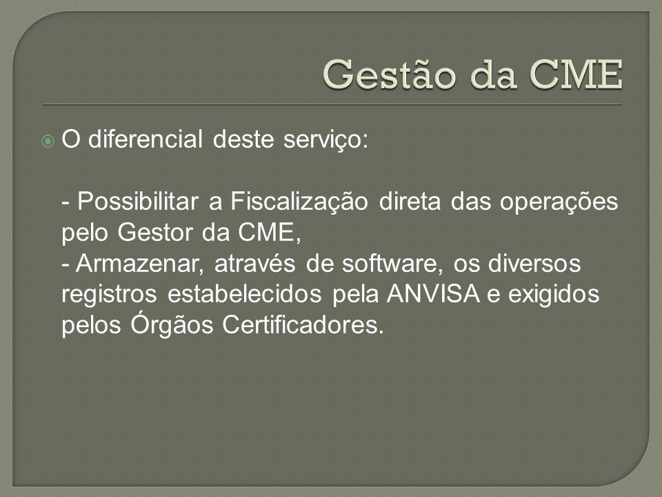 O diferencial deste serviço: - Possibilitar a Fiscalização direta das operações pelo Gestor da CME, - Armazenar, através de software, os diversos regi