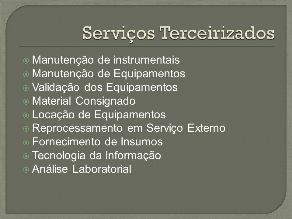 Manutenção de instrumentais Manutenção de Equipamentos Validação dos Equipamentos Material Consignado Locação de Equipamentos Reprocessamento em Servi