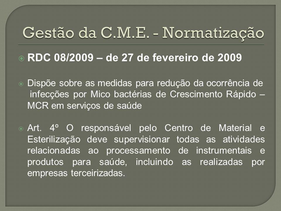 RDC 08/2009 – de 27 de fevereiro de 2009 Dispõe sobre as medidas para redução da ocorrência de infecções por Mico bactérias de Crescimento Rápido – MC
