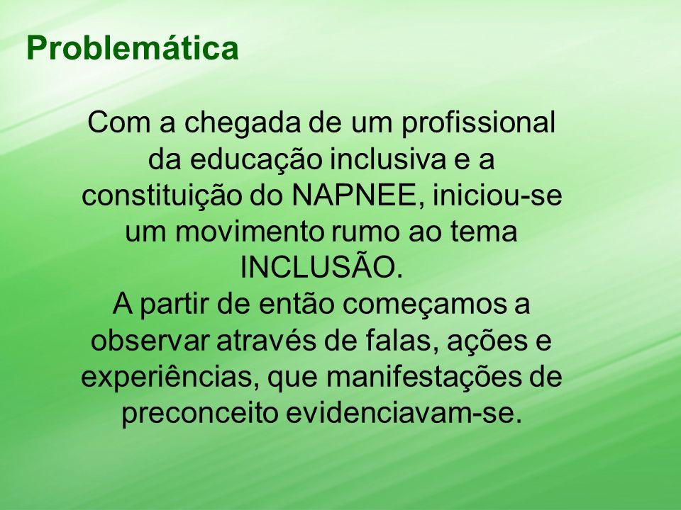 Com a chegada de um profissional da educação inclusiva e a constituição do NAPNEE, iniciou-se um movimento rumo ao tema INCLUSÃO. A partir de então co