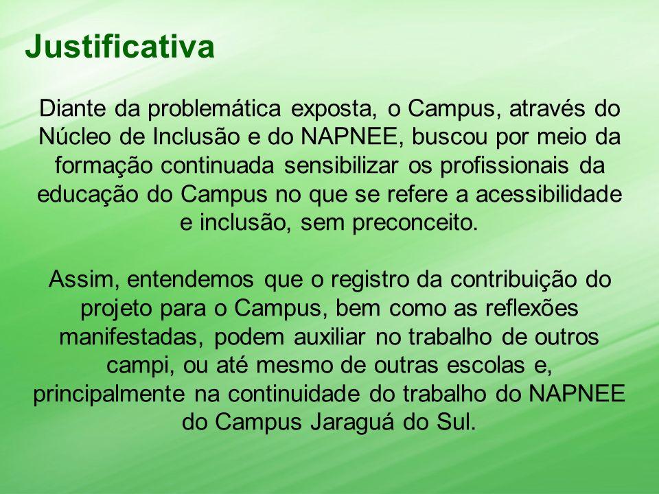 Diante da problemática exposta, o Campus, através do Núcleo de Inclusão e do NAPNEE, buscou por meio da formação continuada sensibilizar os profission