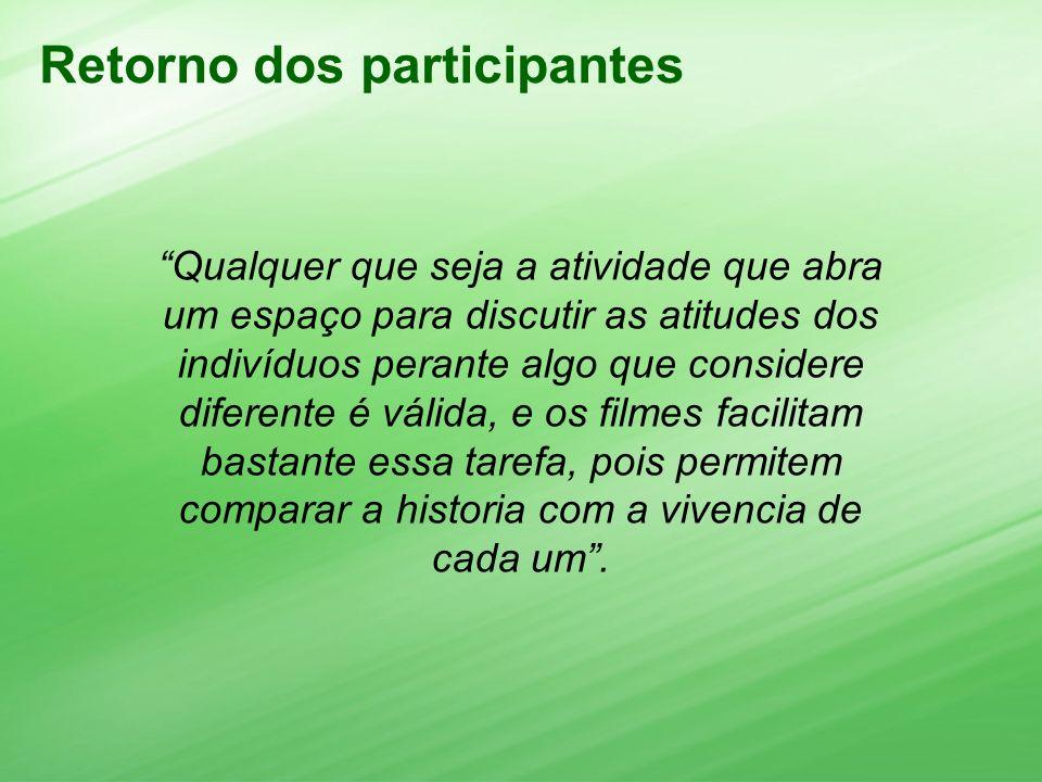 Retorno dos participantes Qualquer que seja a atividade que abra um espaço para discutir as atitudes dos indivíduos perante algo que considere diferen