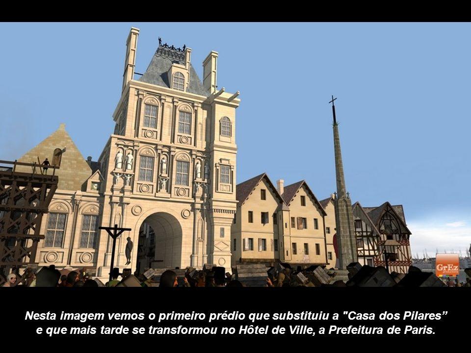 Nesta imagem aparece, ao fundo, o Louvre. À direita, a ponta da Ilha de la Cité e as casas dos cônegos do Palácio da Cidade. Casas com armações de mad