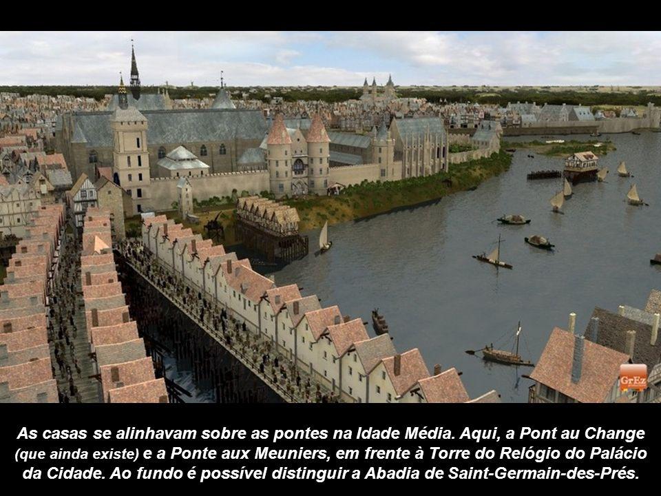 Nesta imagem pode-se ver o jardim do rei na Ilha de la Cité: o pomar ficava em frente das residências.