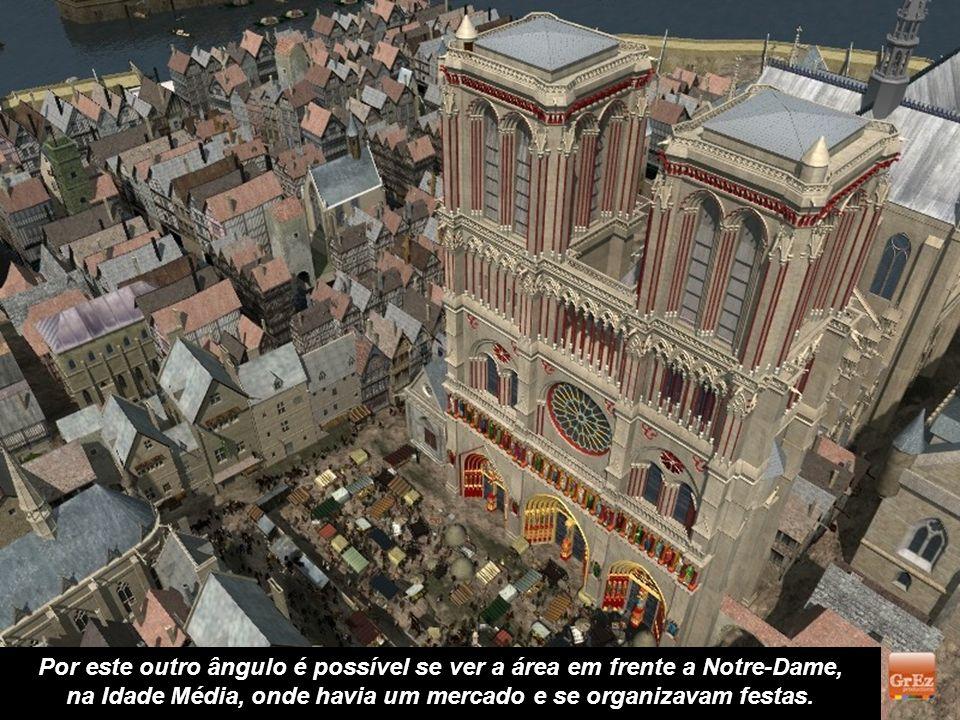 Uma catedral impressionante, embora para os autores desta simulação, como não se pode hoje determinar as cores originais de Notre-Dame, as tonalidades