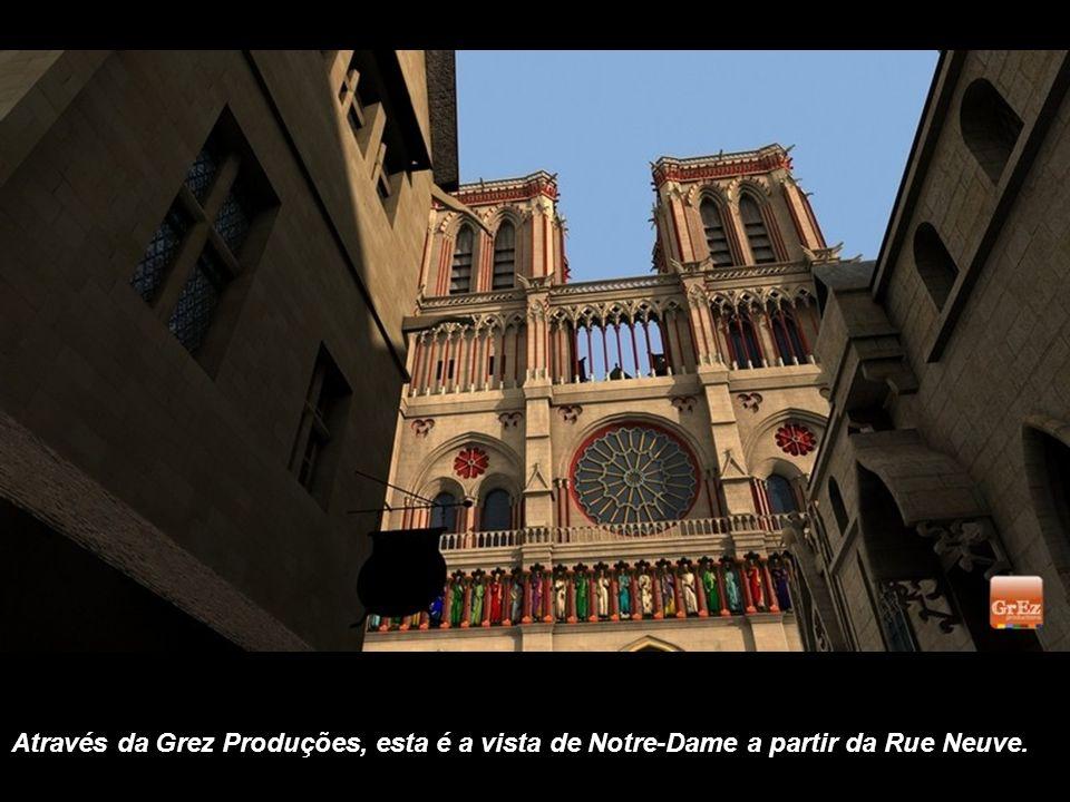Por este outro ângulo é possível se ver a área em frente a Notre-Dame, na Idade Média, onde havia um mercado e se organizavam festas.