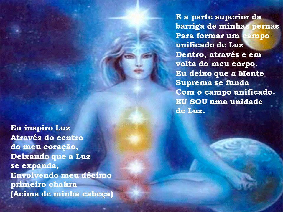 Eu inspiro Luz Através do centro do meu coração, Deixando que a Luz se expanda, Envolvendo o meu décimo chakra (Acima da minha cabeça) E (indo) até me