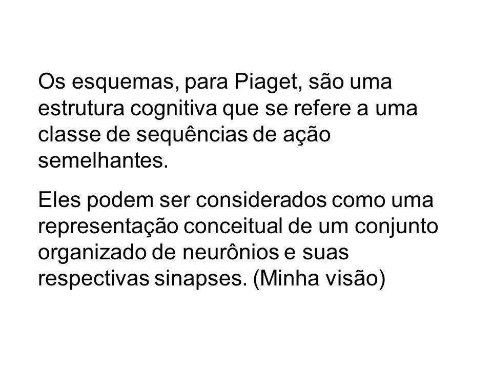 Os esquemas, para Piaget, são uma estrutura cognitiva que se refere a uma classe de sequências de ação semelhantes. Eles podem ser considerados como u