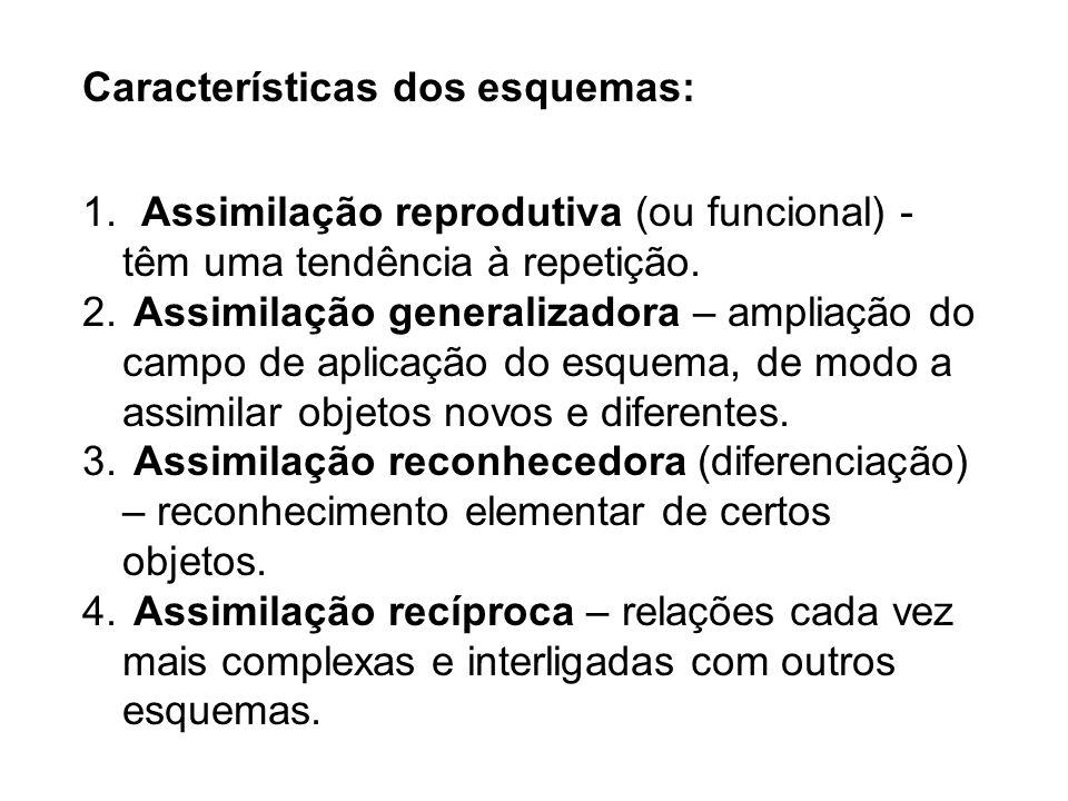 Características dos esquemas: 1. Assimilação reprodutiva (ou funcional) - têm uma tendência à repetição. 2. Assimilação generalizadora – ampliação do