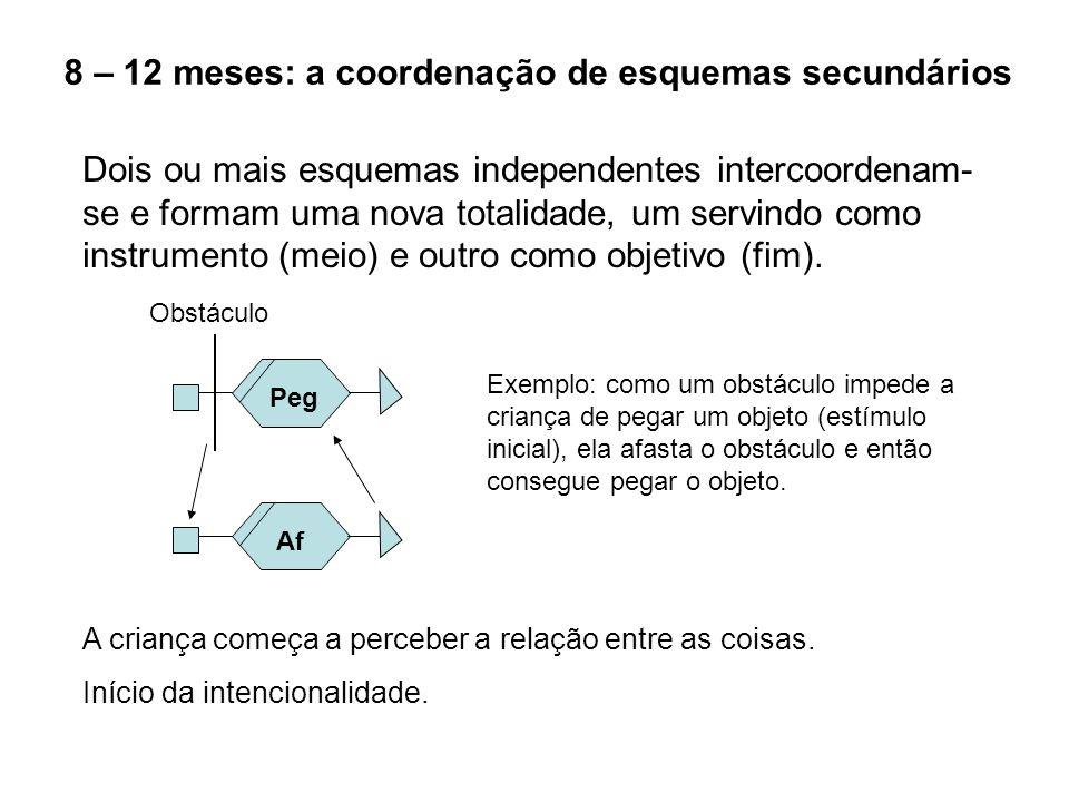8 – 12 meses: a coordenação de esquemas secundários Dois ou mais esquemas independentes intercoordenam- se e formam uma nova totalidade, um servindo c