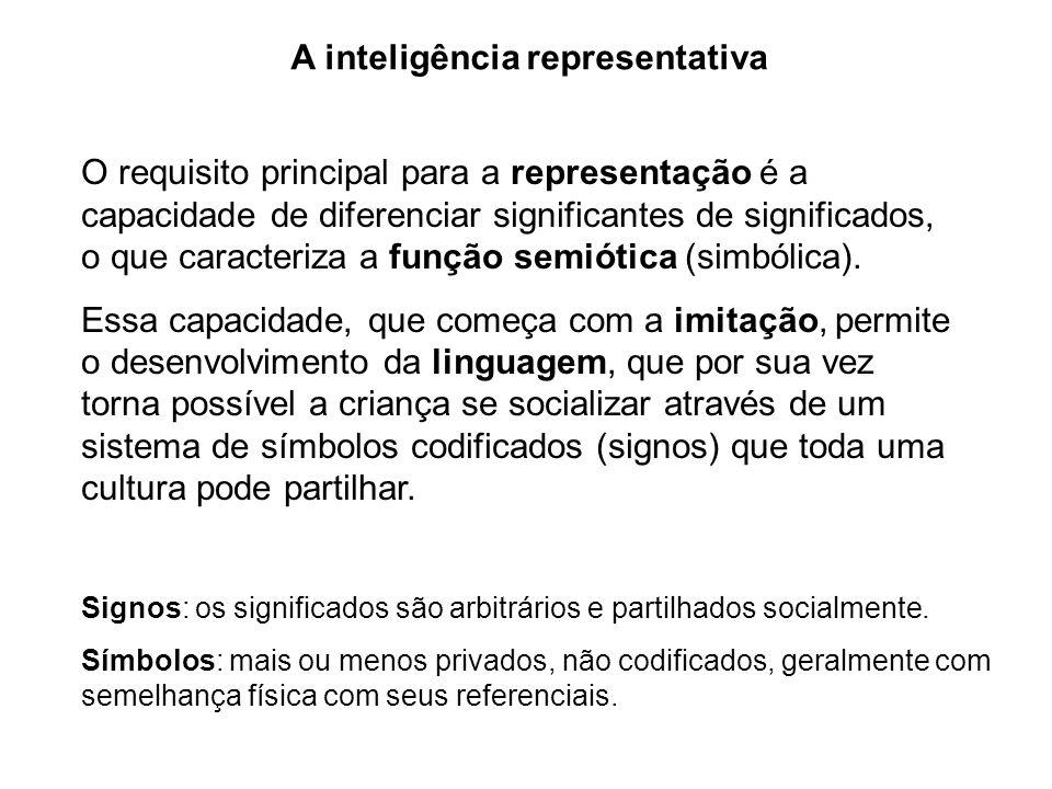 A inteligência representativa O requisito principal para a representação é a capacidade de diferenciar significantes de significados, o que caracteriz