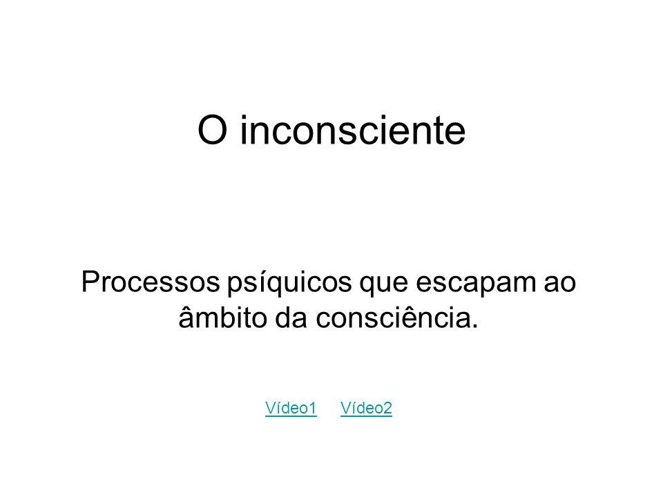 O inconsciente Processos psíquicos que escapam ao âmbito da consciência. Vídeo1Vídeo1 Vídeo2Vídeo2