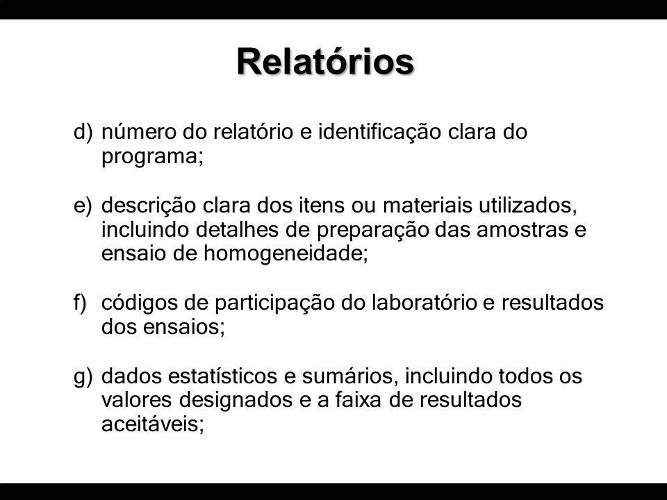 d)número do relatório e identificação clara do programa; e)descrição clara dos itens ou materiais utilizados, incluindo detalhes de preparação das amo