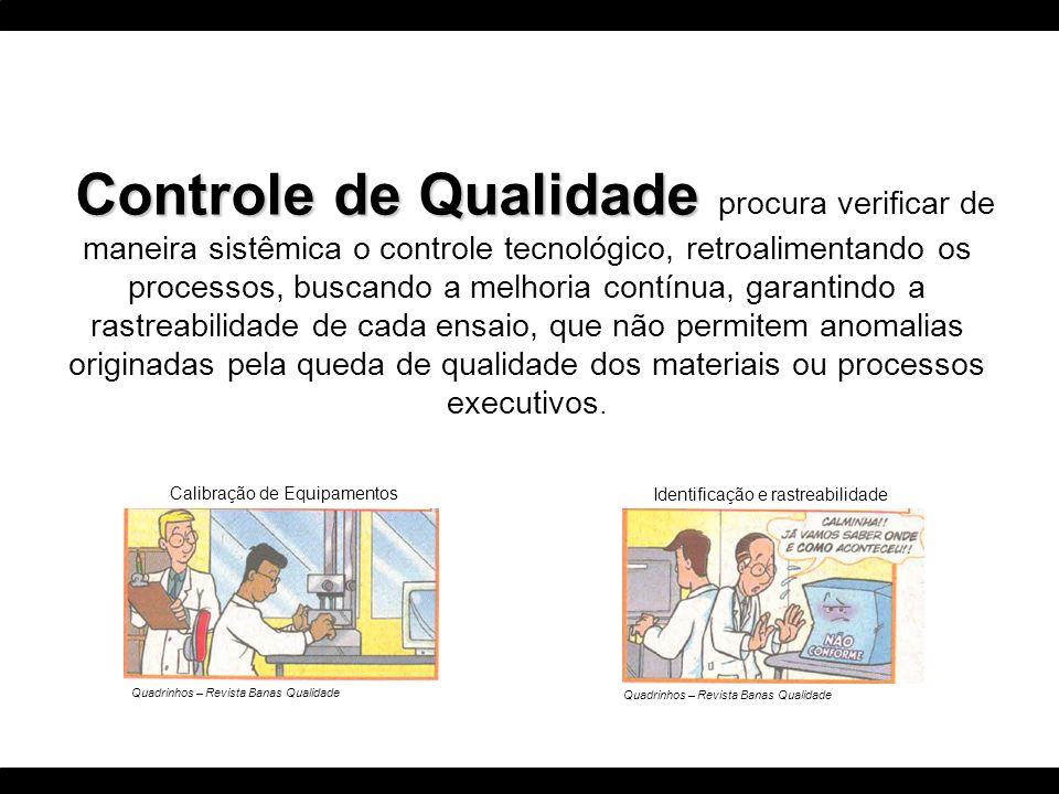 Controle de Qualidade Controle de Qualidade procura verificar de maneira sistêmica o controle tecnológico, retroalimentando os processos, buscando a m