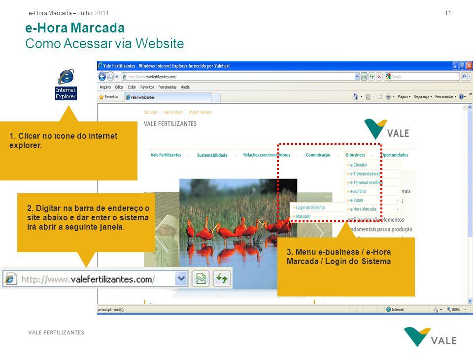 11e-Hora Marcada – Julho, 2011 e-Hora Marcada Como Acessar via Website 1. Clicar no ícone do Internet explorer. 3. Menu e-business / e-Hora Marcada /