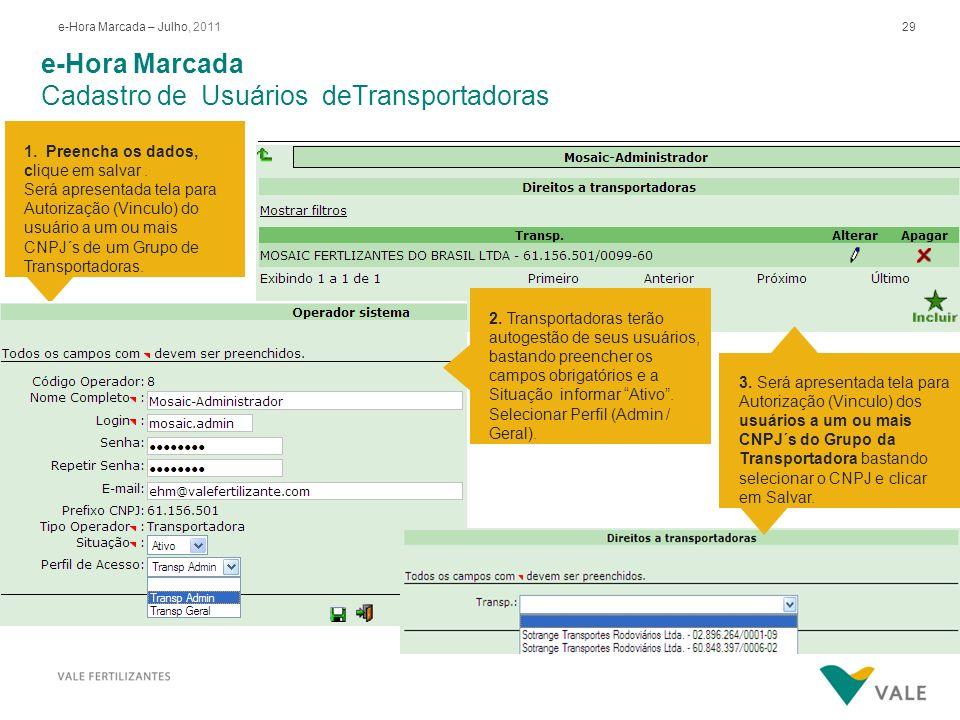 29e-Hora Marcada – Julho, 2011 e-Hora Marcada Cadastro de Usuários deTransportadoras 1. Preencha os dados, clique em salvar. Será apresentada tela par