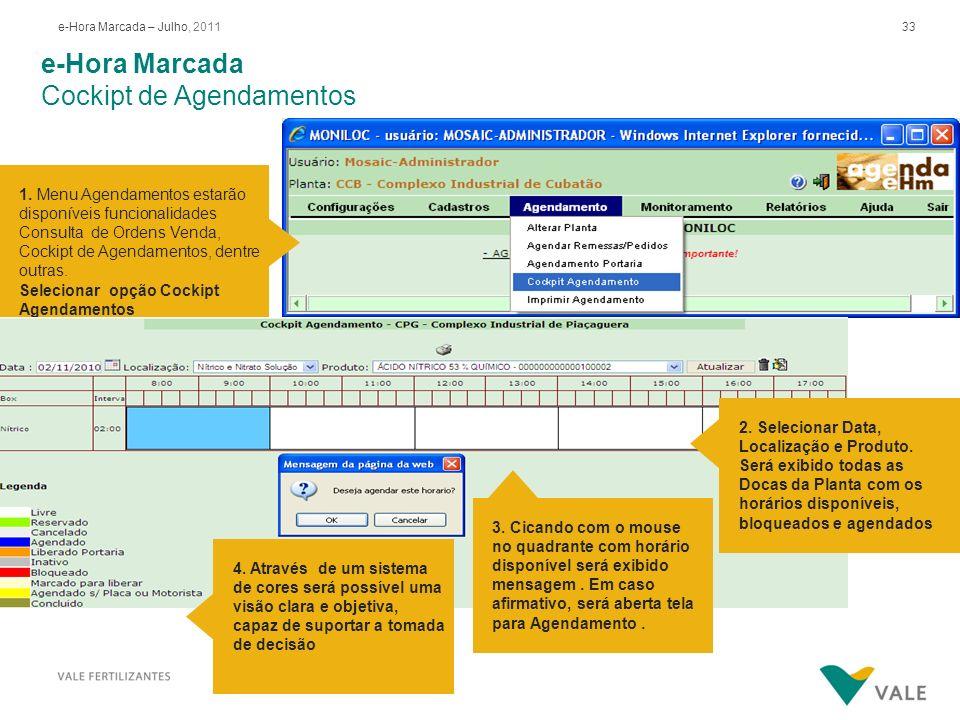 33e-Hora Marcada – Julho, 2011 e-Hora Marcada Cockipt de Agendamentos 1. Menu Agendamentos estarão disponíveis funcionalidades Consulta de Ordens Vend