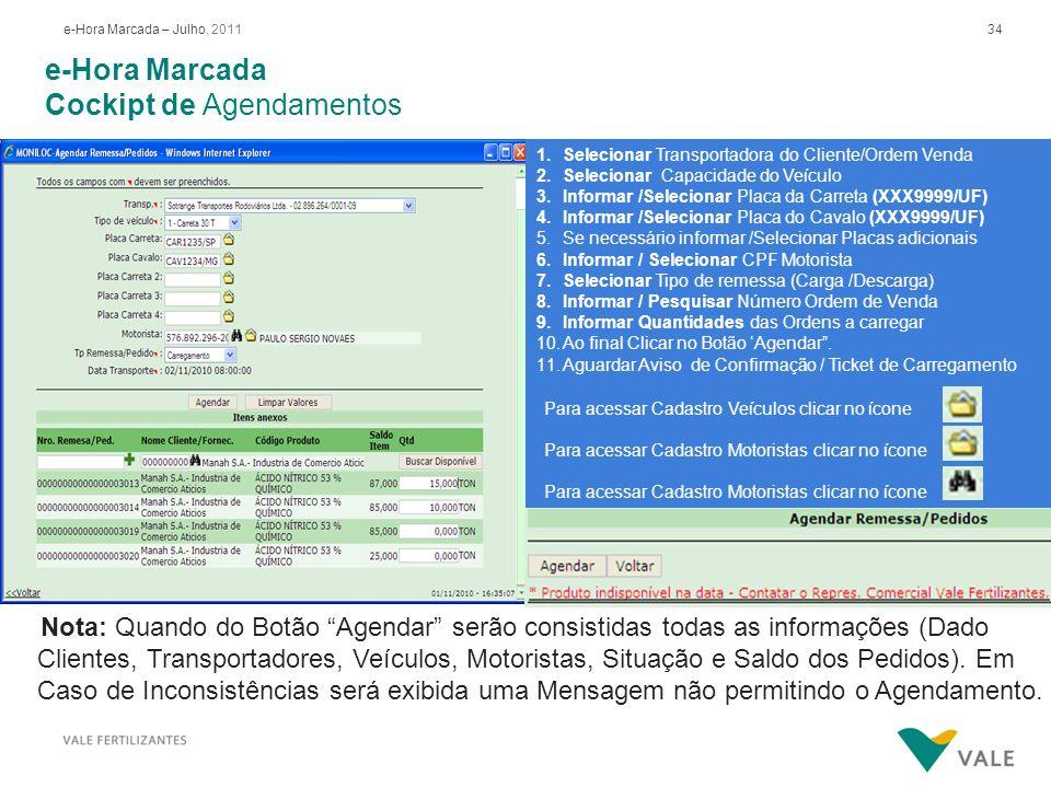34e-Hora Marcada – Julho, 2011 e-Hora Marcada Cockipt de Agendamentos 1.Selecionar Transportadora do Cliente/Ordem Venda 2.Selecionar Capacidade do Ve