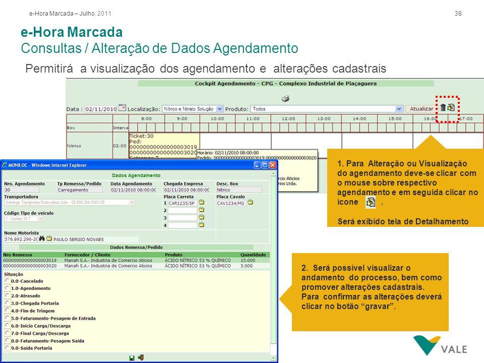 38e-Hora Marcada – Julho, 2011 e-Hora Marcada Consultas / Alteração de Dados Agendamento 2. Será possível visualizar o andamento do processo, bem como