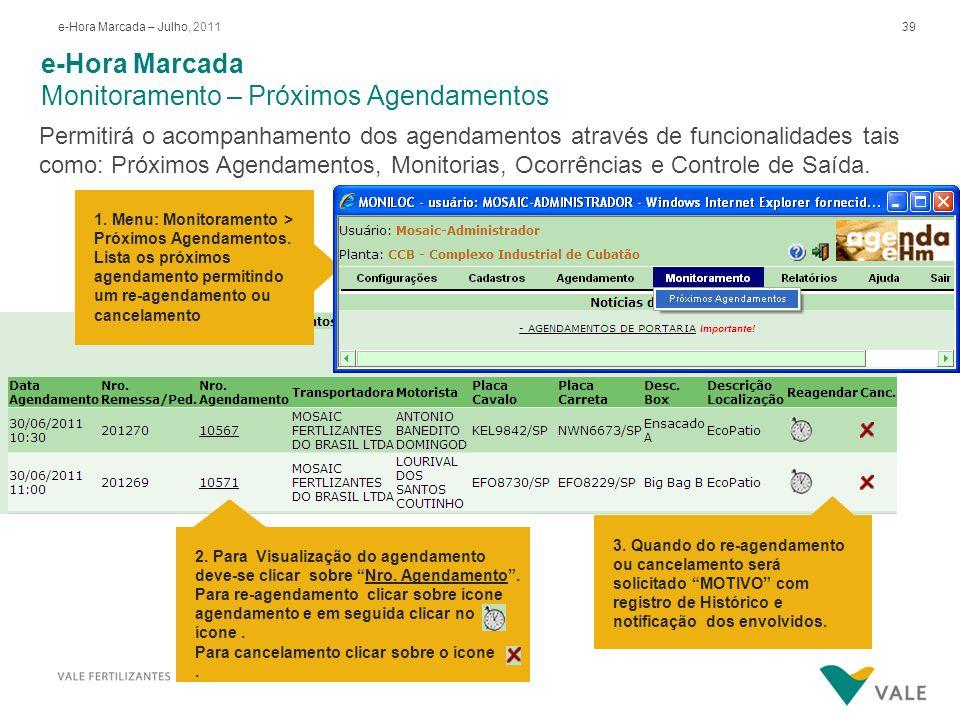 39e-Hora Marcada – Julho, 2011 e-Hora Marcada Monitoramento – Próximos Agendamentos Permitirá o acompanhamento dos agendamentos através de funcionalid