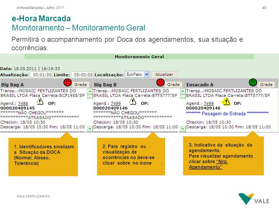 40e-Hora Marcada – Julho, 2011 e-Hora Marcada Monitoramento – Monitoramento Geral Permitirá o acompanhamento por Doca dos agendamentos, sua situação e