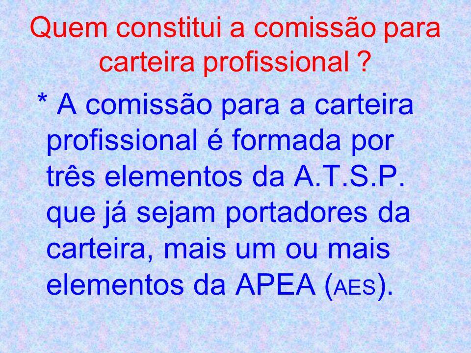 * A comissão para a carteira profissional é o órgão interno da A.T.S.P. que organiza, fiscaliza e elabora o exame, bem como atribui a respectiva categ