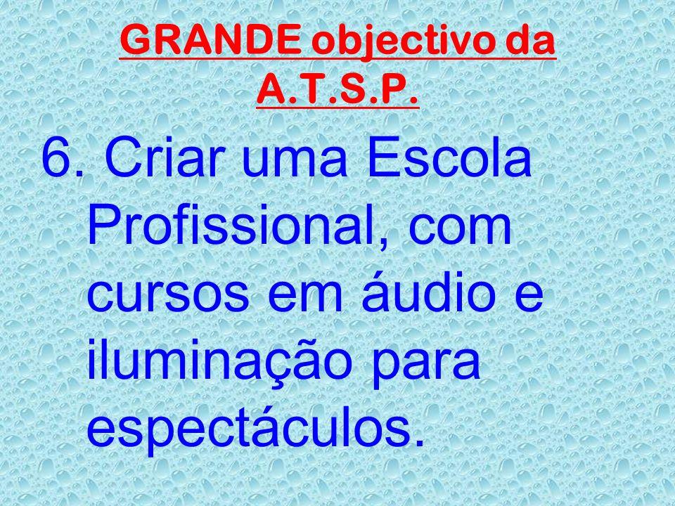 OBJECTIVOS da A.T.S.P. 5. Criar o museu do som, com equipamento já em desuso, por forma a ser compreendido a evolução do mesmo através dos tempos.
