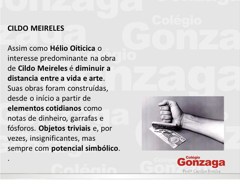 Prof.ª Caroline Bonilha CILDO MEIRELES Assim como Hélio Oiticica o interesse predominante na obra de Cildo Meireles é diminuir a distancia entre a vid