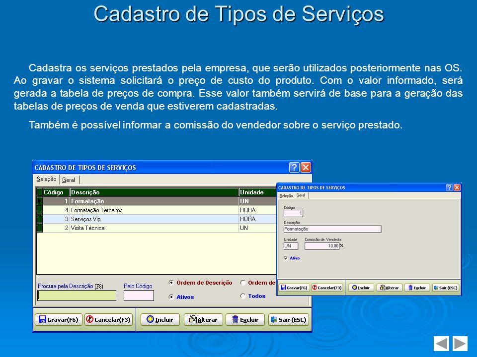 Cadastro de Tipos de Serviços Cadastra os serviços prestados pela empresa, que serão utilizados posteriormente nas OS. Ao gravar o sistema solicitará