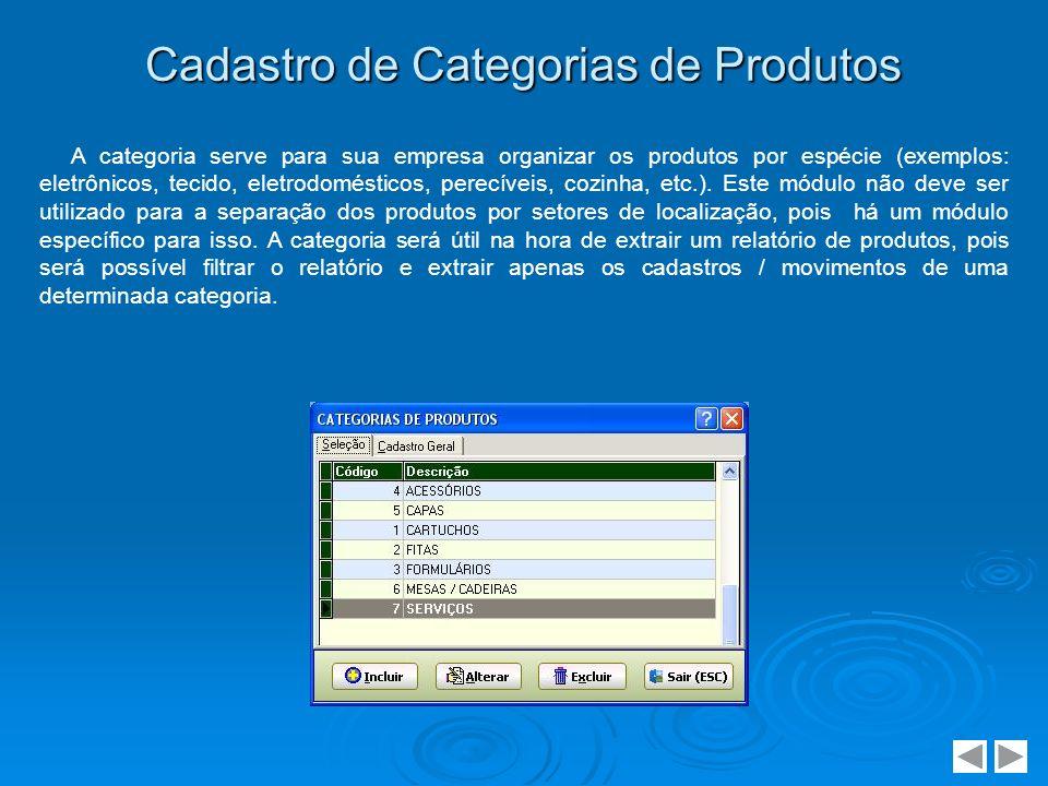 Cadastro de Categorias de Produtos A categoria serve para sua empresa organizar os produtos por espécie (exemplos: eletrônicos, tecido, eletrodoméstic