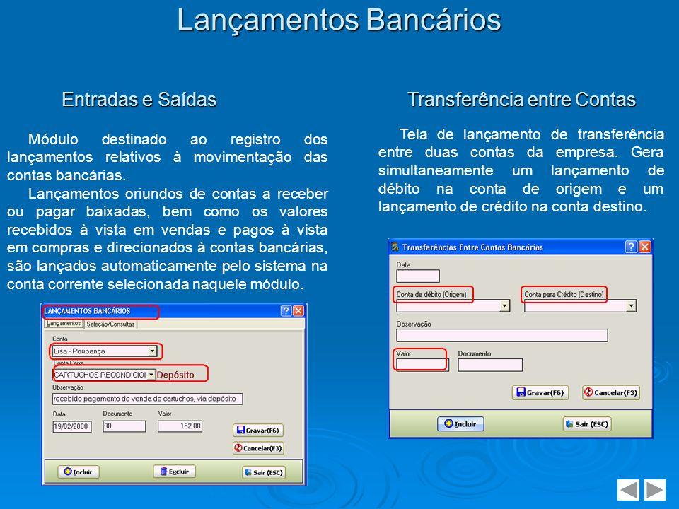 Lançamentos Bancários Módulo destinado ao registro dos lançamentos relativos à movimentação das contas bancárias. Lançamentos oriundos de contas a rec