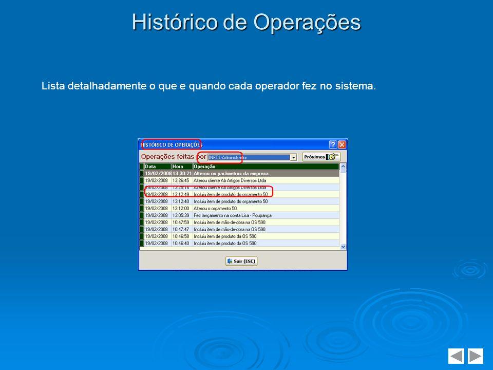 Histórico de Operações Lista detalhadamente o que e quando cada operador fez no sistema.
