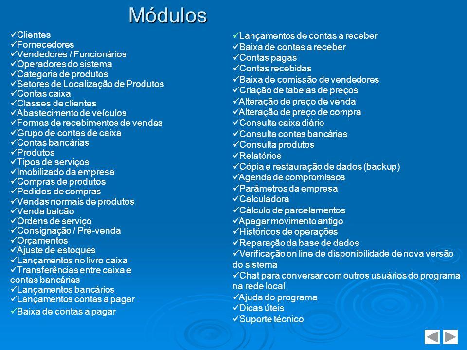 Clientes Fornecedores Vendedores / Funcionários Operadores do sistema Categoria de produtos Setores de Localização de Produtos Contas caixa Classes de
