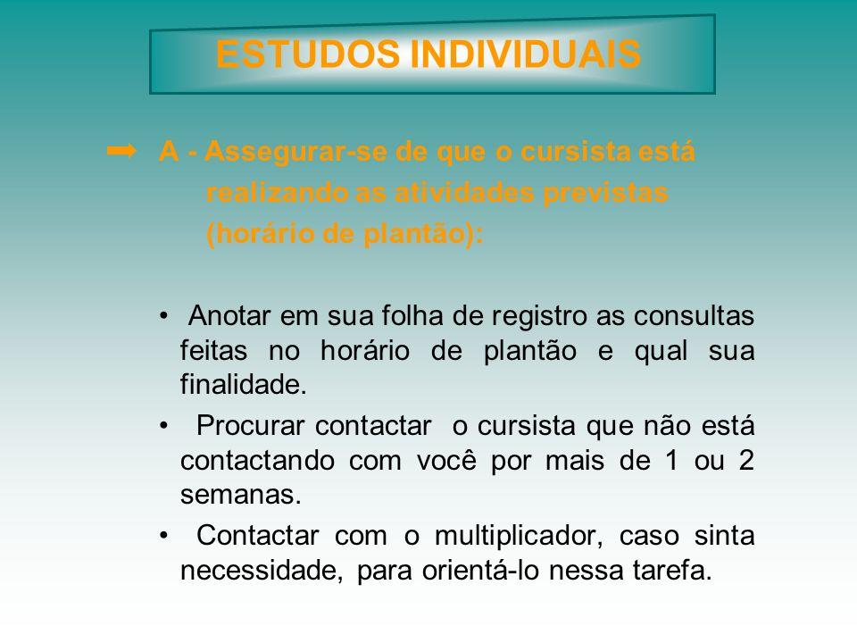 ESTUDOS INDIVIDUAIS A - Assegurar-se de que o cursista está realizando as atividades previstas (horário de plantão): Anotar em sua folha de registro a