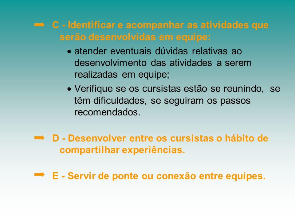 C - Identificar e acompanhar as atividades que serão desenvolvidas em equipe: atender eventuais dúvidas relativas ao desenvolvimento das atividades a