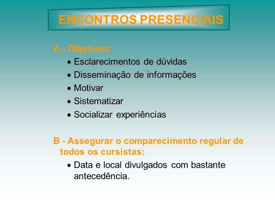 ENCONTROS PRESENCIAIS A - Objetivos: Esclarecimentos de dúvidas Disseminação de informações Motivar Sistematizar Socializar experiências B - Assegurar