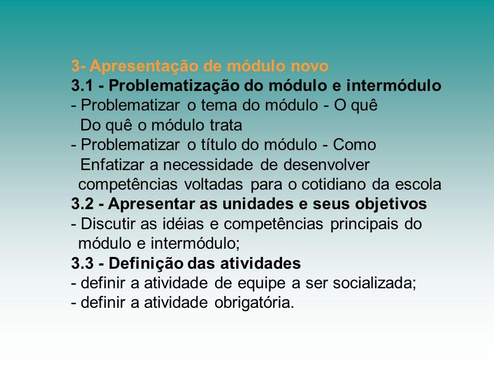 3- Apresentação de módulo novo 3.1 - Problematização do módulo e intermódulo - Problematizar o tema do módulo - O quê Do quê o módulo trata - Problema