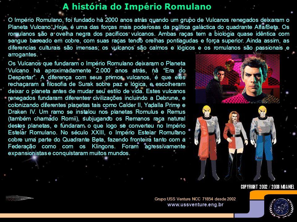 Quais os episódios em que aparecem os Romulanos? DATA ESTELAR: 1709.2 - BALANCE OF TERROR (O Equilíbrio do Terror) – Uma nave Ave de Rapina Romulana c