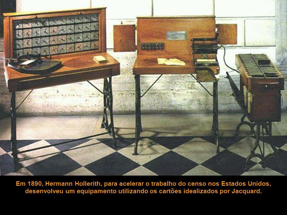 Em 1890, Hermann Hollerith, para acelerar o trabalho do censo nos Estados Unidos, desenvolveu um equipamento utilizando os cartões idealizados por Jac