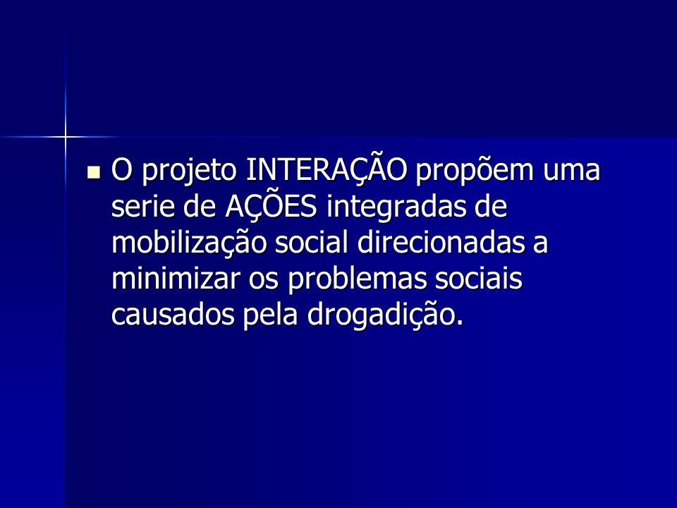 O projeto INTERAÇÃO propõem uma serie de AÇÕES integradas de mobilização social direcionadas a minimizar os problemas sociais causados pela drogadição