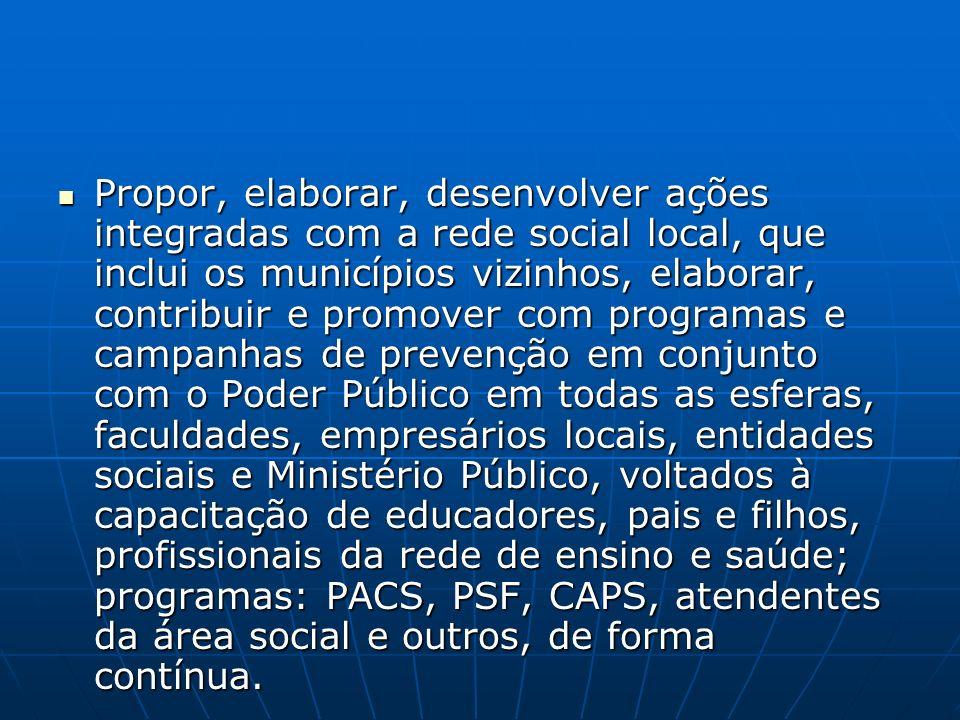Propor, elaborar, desenvolver ações integradas com a rede social local, que inclui os municípios vizinhos, elaborar, contribuir e promover com program