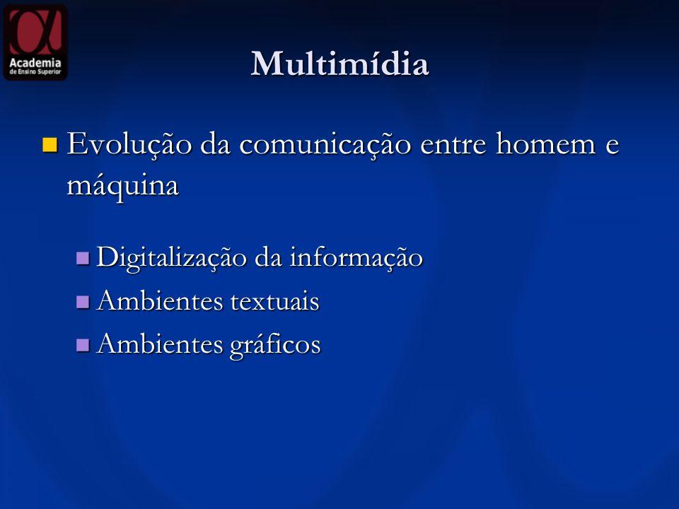 Multimídia Evolução da comunicação entre homem e máquina Evolução da comunicação entre homem e máquina Digitalização da informação Digitalização da in